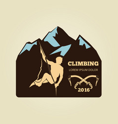 vintage mountain climbing logo - sport activity vector image