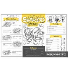 vintage seafood menu design restaurant menu vector image