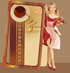 waitress coffee vector image