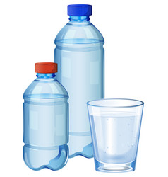 Water bottles and glass with drinking water vector