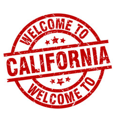 Welcome to california red stamp vector