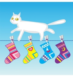 White cat on a clothes line vector