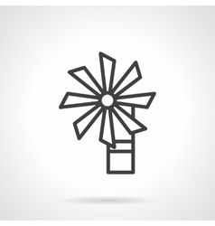 Wind turbine black line icon vector image