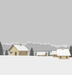 Winter mountain village vector image