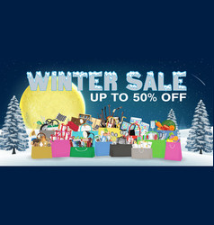 winter sale with general object in shopping bag vector image