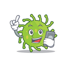 With phone green bacteria character cartoon vector
