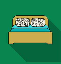 wooden double bed icon in flat style isolated on vector image