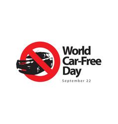 world car free day logo template design vector image