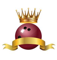 Bowling king champion symbol with a golden crown vector