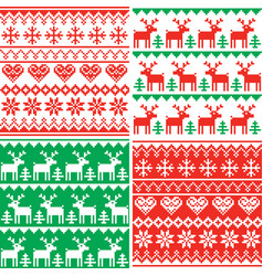 christmas patttern set winter design vector image vector image