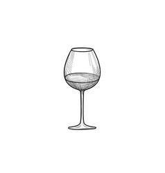half full wine glass wineglass engrave drink sign vector image vector image