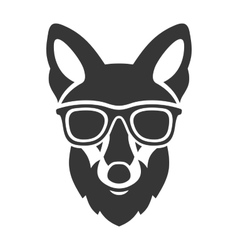 Hipster Red Fox Face in Glasses vector image