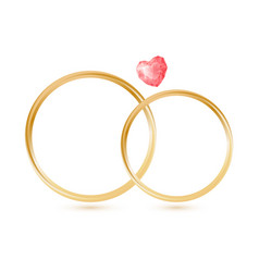 isolted wedding gold rings with gemstone heart vector image