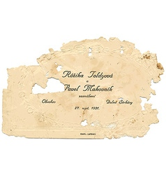old paper wedding card vector image vector image
