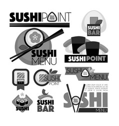 sushi point bar menu monochrome set of emblems vector image
