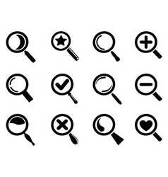 black magnifying glass icons set vector image vector image