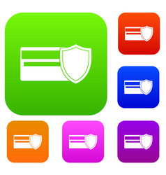 credit card and shield set collection vector image
