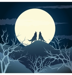 Howling wolves vector image vector image