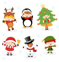 Kids With Christmas Costumes vector image vector image