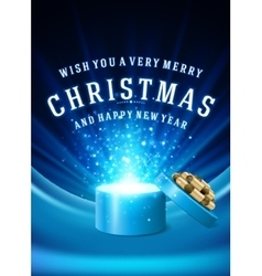 Open Gift Box Magic Light fireworks and Christmas vector image vector image