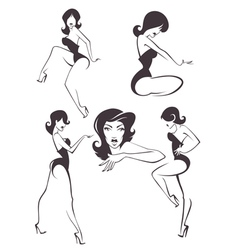 pin up girls vector image