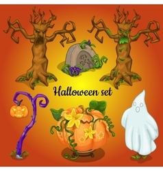 Set of objects and symbols of the Halloween vector image vector image