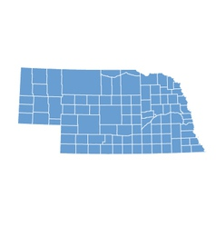 State map of Nebraska by counties vector image vector image