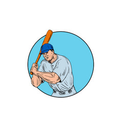 baseball player holding bat drawing vector image vector image