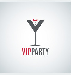 cocktail party glass logo vip party design vector image