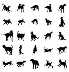 Dog silhouettes set vector image