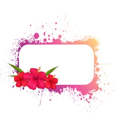 grunge frame with hibiscus vector image vector image
