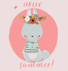 summer cute hare vector image vector image