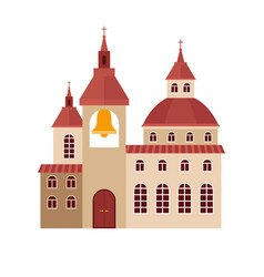 chirch building flat colorful icon vector image vector image