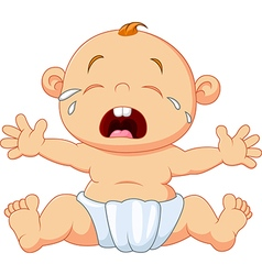 Cute baby crying isolated on white background vector image vector image