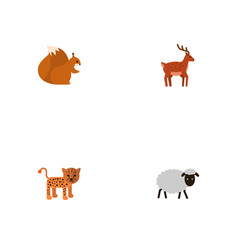 flat icons panther moose chipmunk and other vector image