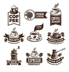 monochrome coffee labels in retro style vector image vector image