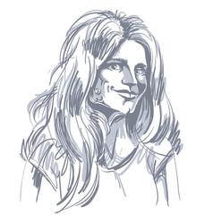 Monochrome hand-drawn image flirting young woman vector