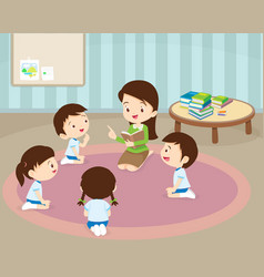 teacher reading for student vector image