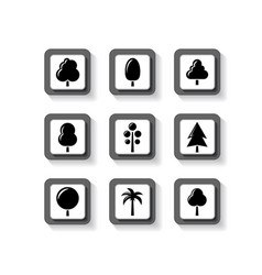 trees on buttons set vector image vector image