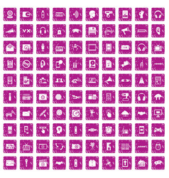 100 audio icons set grunge pink vector
