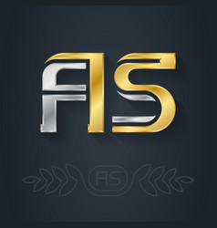 a and s initial gold and silver logo as vector image