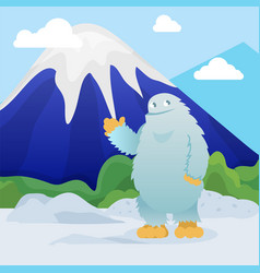 Abominable snowman stands on snowy mountain vector