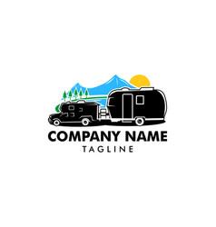 adventure rv camper car logo designs template vector image
