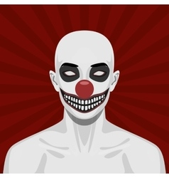 Bald scary Clown with smiling Face vector