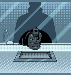 Bank robbery with gun pop art vector