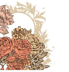 Beautiful background with roses flowers vector