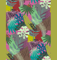 beautiful seamless pattern with ropical jungle vector image