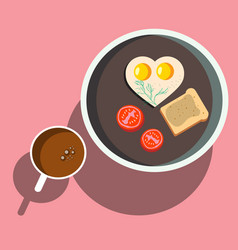 breakfast scrambled eggs with toast vector image