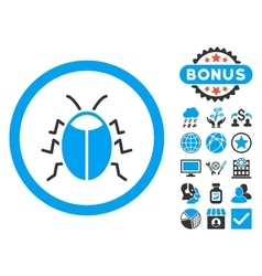 Bug Flat Icon with Bonus vector
