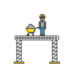 builder with wheelbarrow construction isolated vector image